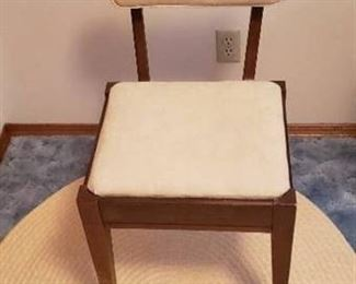 Cream Colored Sewing Chair with Storage under Seat - 17  x 15  x 30