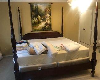4 poster mahogany rice bed with King size Tempurpedic mattress set