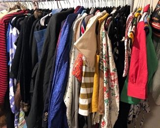 Vintage Men's and Women's shirts, skirts, dresses and pants from mostly 40's to 80's.  A little bit of every decade!
