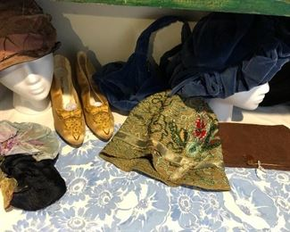 antique shoes, hats and bags