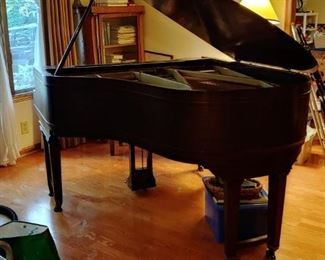 """CHICKERING & SONS PARLOR GRAND PIANO IN MAHOGANY CABINET WITH WALNUT FINISH.  SERIAL NN. 140485 52.  ABOUT 66"""" LONG COMPLETE WITH MAHOGANY BENCH WITH LIFT HINGE LID AND HAND NEEDLEPOINT COVER.  CIRCA 1925"""