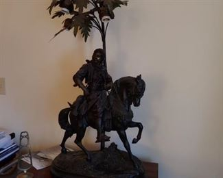 """ALFRED BAYRE & EMILE GUILLEMIN (SIGNED) BRONZE SCULPTURE LAMP """"RETURN FROM THE HUNT"""" BY FABRICATION FRANCOISE, PARIS.  THIS IS A RECAST SCULPTURE HEIGHT 26 1/4 AND WITH IS 22 1/2. CIRC 1900-1910"""