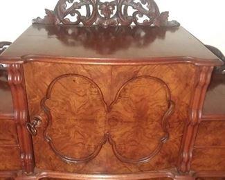 Antique Victorian Louis XV StyleLadies Writing Desk w/ Burl Veneer Antique Louis XV Style Side Chair ( included w/ desk as chair)