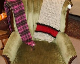 furniture tufted chair and coach scarf