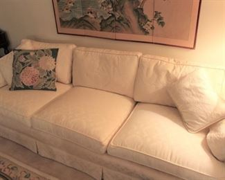 furniture white damask upholstered sofa