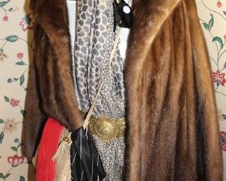 accessories and mink jacket