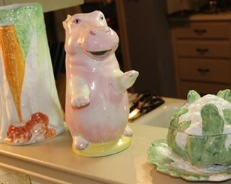 kitchen hippo and pottery