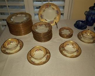 Tiffany, Cauldon ware; 18 dessert, 12 saucer, plus 4 tea cups pattern # T1622-T