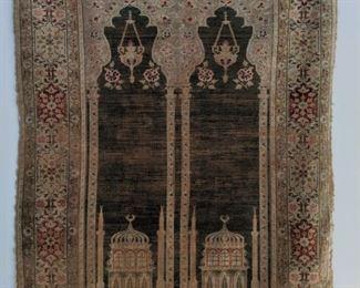 GORGEOUS antique Persian Prayer Rug, hung as wall art - stunning!