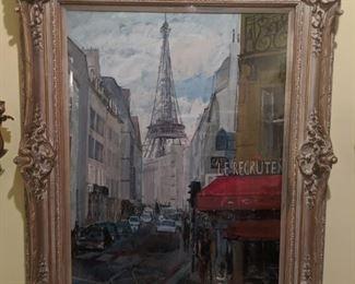 Beautifully framed Eiffel Towel gouache, by Russian Artist Dmitriy Proshkin.