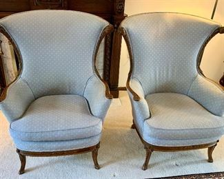 2 Vintage Light blue upholstered arm chairs with wood trim