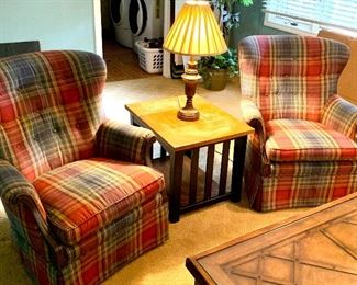 2 red plaid upholstered arm chairs