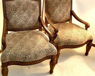 2 wood & upholstered 29w x 25d arm chairs