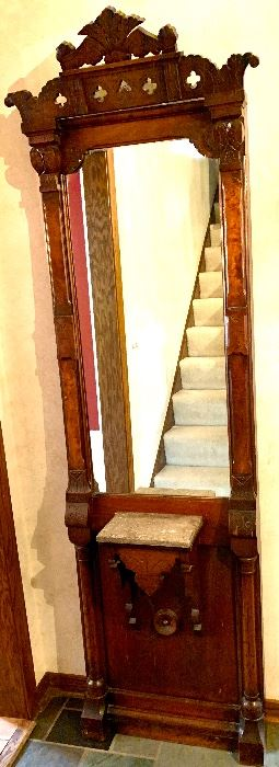Antique carved wood Hall Mirror