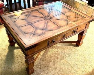 Hekman fine wood furniture coffee table with glass top 43 x 30 x 22h