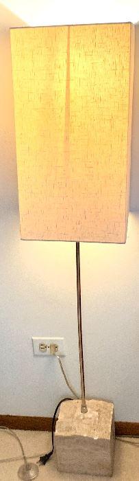 "54"" high, stone base floor lamp"