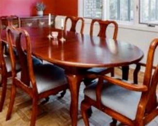 """Vintage 60"""" Oval cherrywood dining table with 18"""" leaf, 2 arm chairs, 4 straight back chairs"""