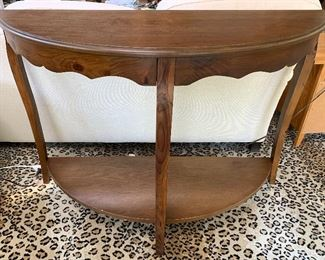Wood Demi lune table 48w x 32h x 18d