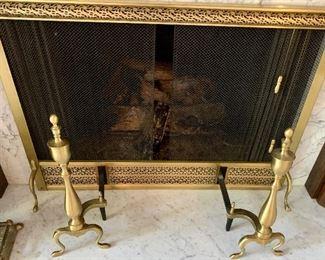 Vintage Brass fireplace Andirons & screen