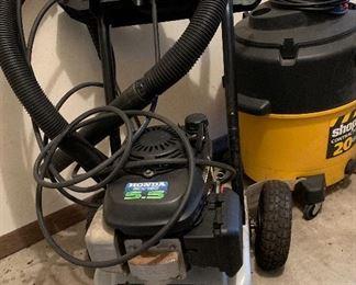 20 gallon shop vac Honda 5.5 DTH2450 Power Washer