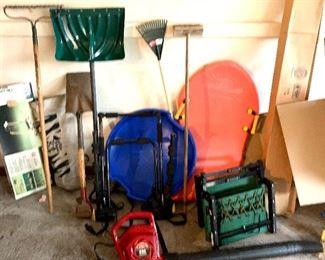 Croquet game, yard Tools, folding chairs,  Toro leaf blower, sleds