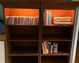 2 Lit 5 shelf bookcases, CD's, music books