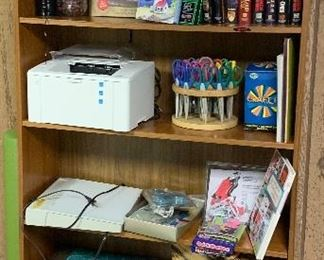 Book shelf, craft supplies, sewing basket, Scrapbooking,