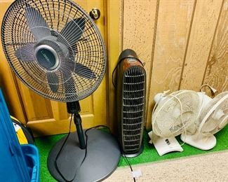 Various house fans and space heaters