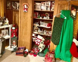 Christmas houses,  stocking holders, decorations