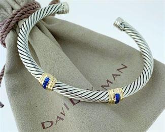 David Yurman Sapphire Bracelet with 14k Gold Double Station 5mm<br>Sterling Silver 925  14k Gold Blue Sapphire