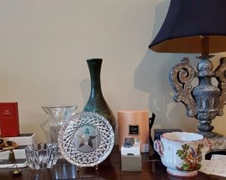 Orrefor Crystal, decorator pottery vase, unique lamp, Woman's new perfumes, Waterford Longhorn Texas Plate and vase