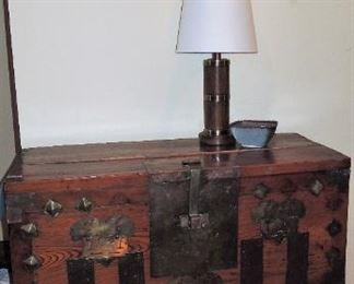 Larger Korean Chest (no lock).  Seth Thomas Maritime Clock. One of many lamps