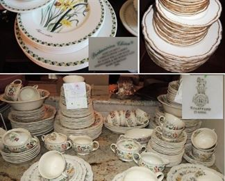 "China sets: Royal Doulton ""Stratford"" Floral - 2 HUGE sets including many, many serving pieces.  Portmeirion Ladies Flower Garden and Limoges"