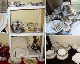 "Huge collection  of Castleton China ""Grosvenor"" with many, many extras and serving pieces.  Large selection of Lenox serving plates and platters in their traditional cream with gold trim. Lenox tea cup/saucers, Belleek Cream Sugar and Tray.  Antique Coffee pot and cups"