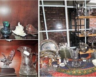 Antique china pitcher and crystal vases. SilverPLATE platters and trays, trays and bowls. Fostoria candy dishes, American Brilliant Crystal