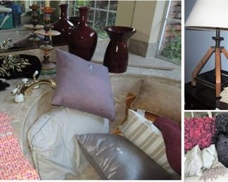 Throw pillows - so many!  Vases and urns, unique lamp, feminine statue