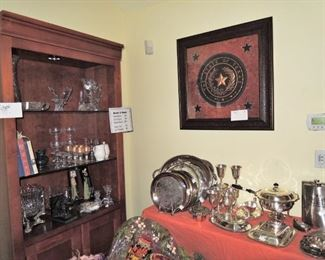 Large collection of SilverPLATE trays, platters, chaffing dishes, serving plates, candy dishes, goblets ad more.  2 HUGE flasks, Framed State of Texas Seal