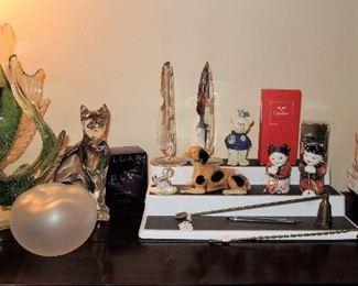 Koi fish art glass, crystal decor, Lalique Apple, Baccarat Cat.  New in box perfume