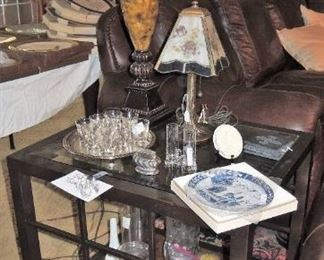 Large metal and glass end table, silver plate tray, shot glasses, lamps