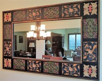 Large framed colorful mirror