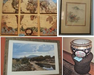 World map mural, vintage art, museum print, Oriental  urn