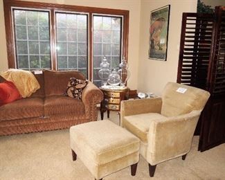 Corduroy brown loveseat, side table, Storehouse furniture chair and ottoman.  Large room screen