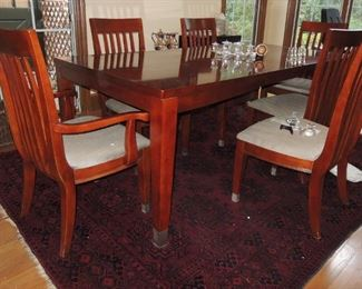 Ashley furniture dining table and 6 chairs.  Large Turkish wool rug