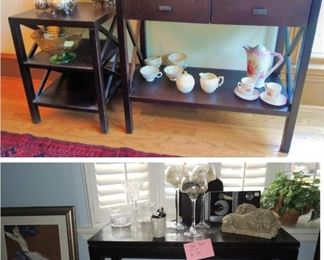 Dark wood, contemporary entry table, all-in-one stereo, large candle holders. Transitional small entry table and side table.  One of 3 silver-plate tea sets