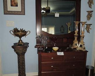 Decorate pedestal, wall shelves, and candlesticks.  Wood framed mirror,  Ethan Allen chest