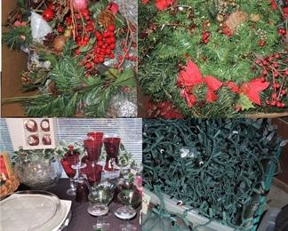 Christmas floral, new lights, colorful crystal.  Large crystal trays
