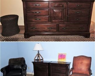 Bedroom furniture.  Triple-tall dresser/chest with mirror, and 2 matching side tables.  Black leather chair and ottoman, Rustic leather arm chair