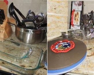 Kitchen utensils, chargers, Le Cruiset casseroles, glass casseroles