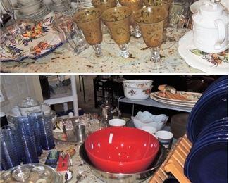 Kitchen basics. Colorful dishes and stemware