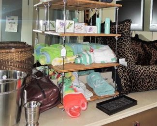 Bathroom linens, throw pillows, soaps and lotions